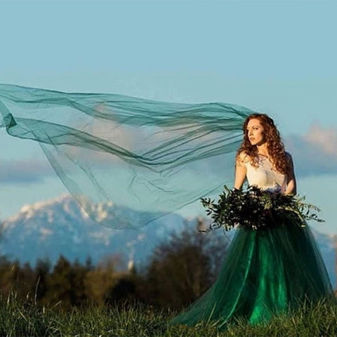 Wedding Long 3M 5M Green Mesh Tulle Lace Bride Veils