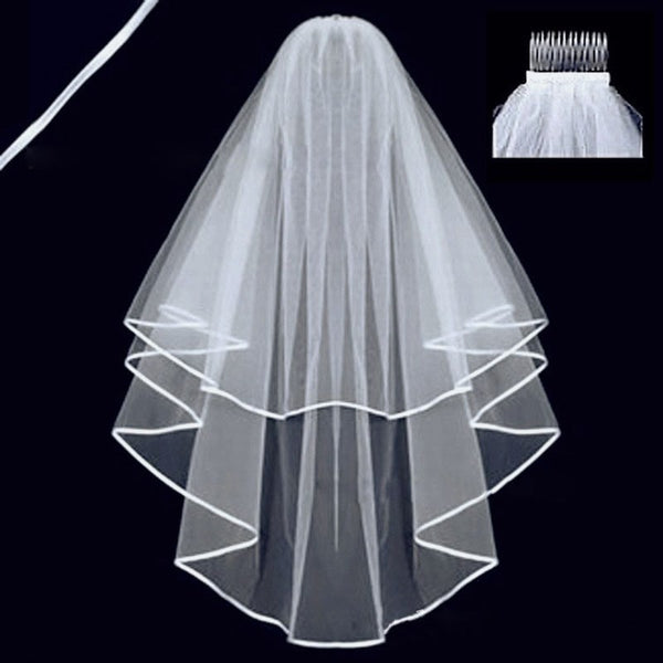 Elegant Two Layer Cathedral Tulle Long Bride Veils with Comb
