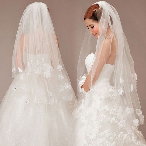 Double Layer Women Fingertip Short Wedding Veil