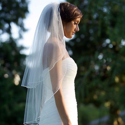 Double Layer Womens Irregular Length Wedding Veil