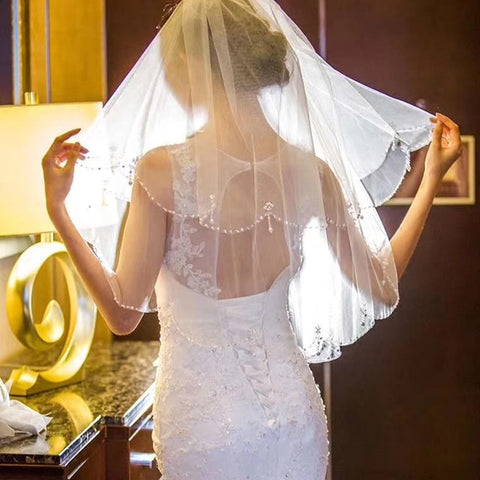 Smiple 2 layers Short  Beaded Pearl Wedding Veil