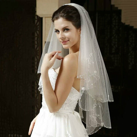 White or Ivory Short Wedding Veil with Crystal Edge