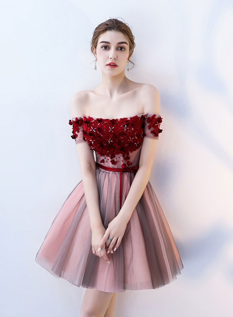 Cute tulle lace off shoulder prom dress, evening dress