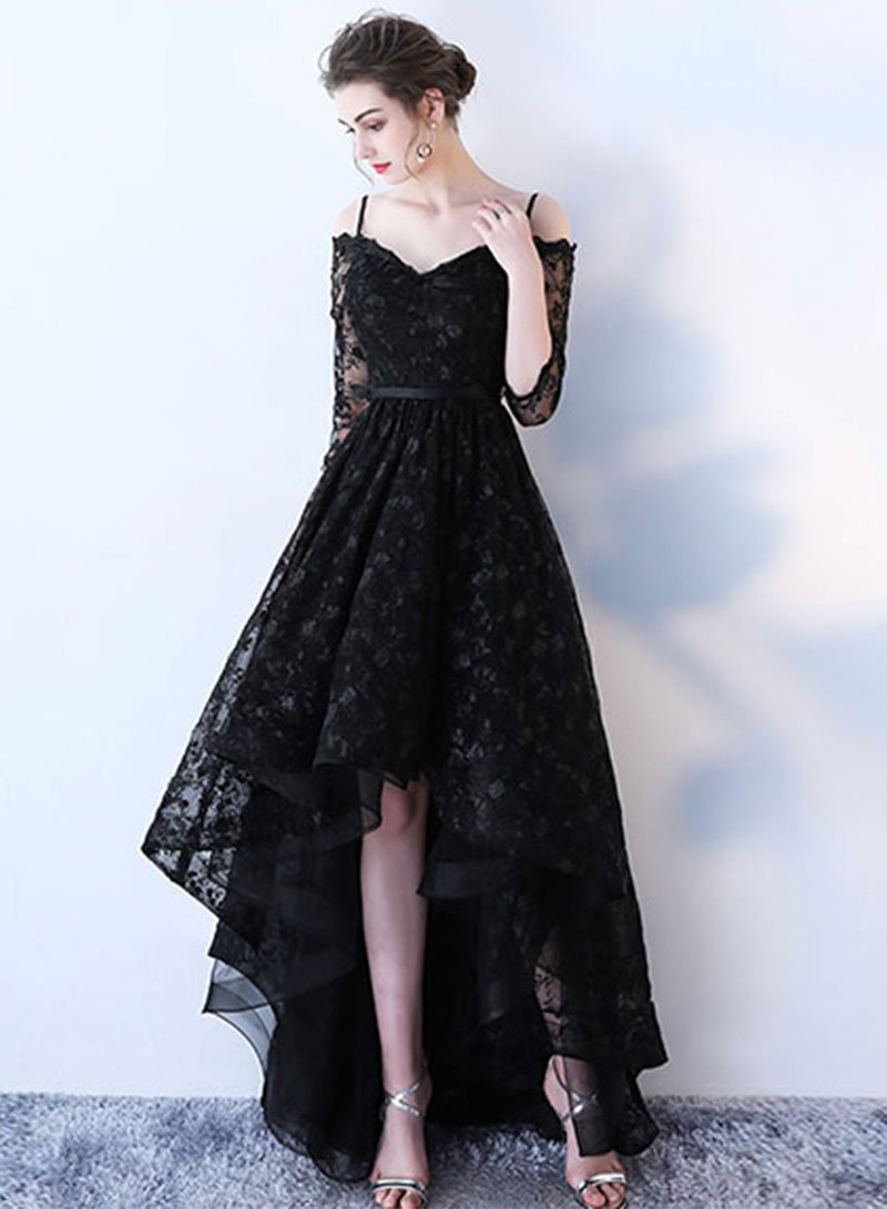 Black lace high low prom dress, homecoming dress