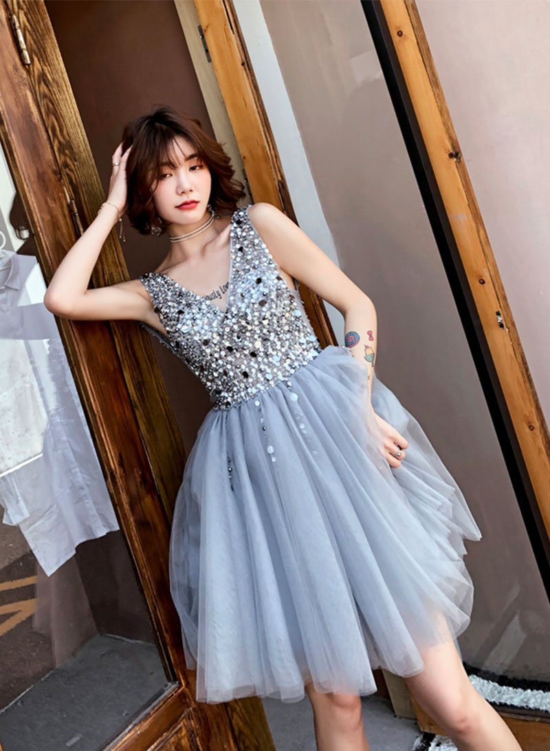 Gray v neck beads short prom dress, homecoming dress