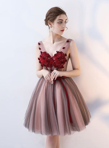 Cute v neck tulle lace prom dress, evening dress