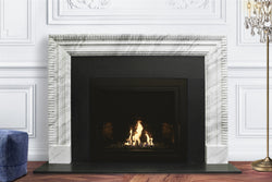 Bengal hand-carved marble fireplace mantel by Marmoso