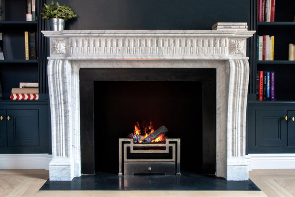Josephine hand-carved marble fireplace mantel by Marmoso