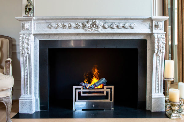 Laurel hand-carved marble fireplace mantel by Marmoso