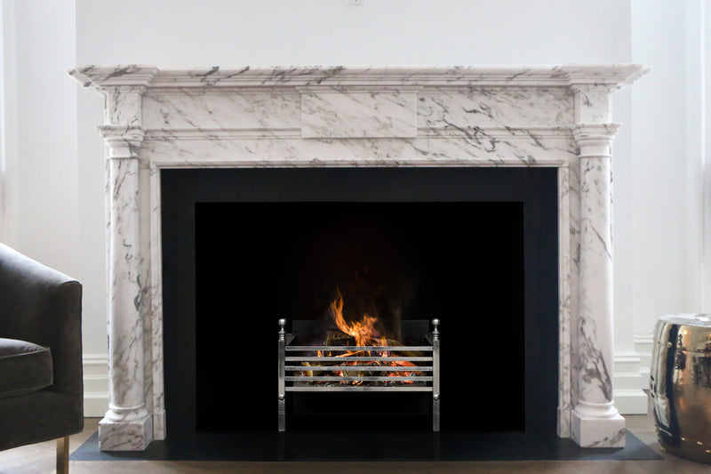 Savoy hand-carved marble fireplace mantel by Marmoso