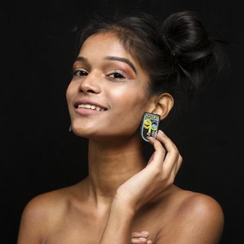 Chehra Hand embroidered Earrings by Gonecase