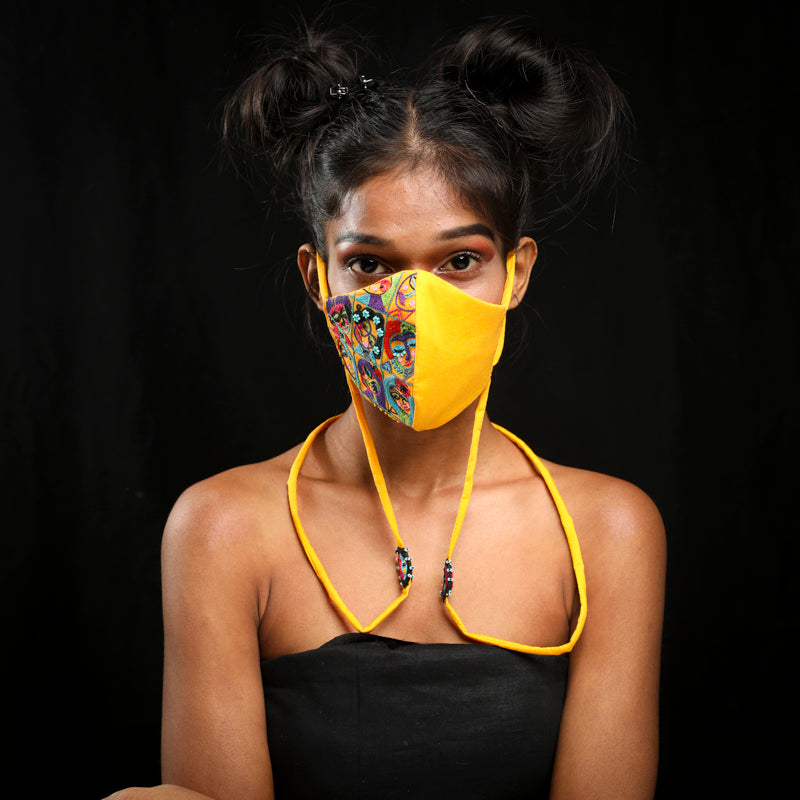Yellow Faces handcrafted mask by gonecase