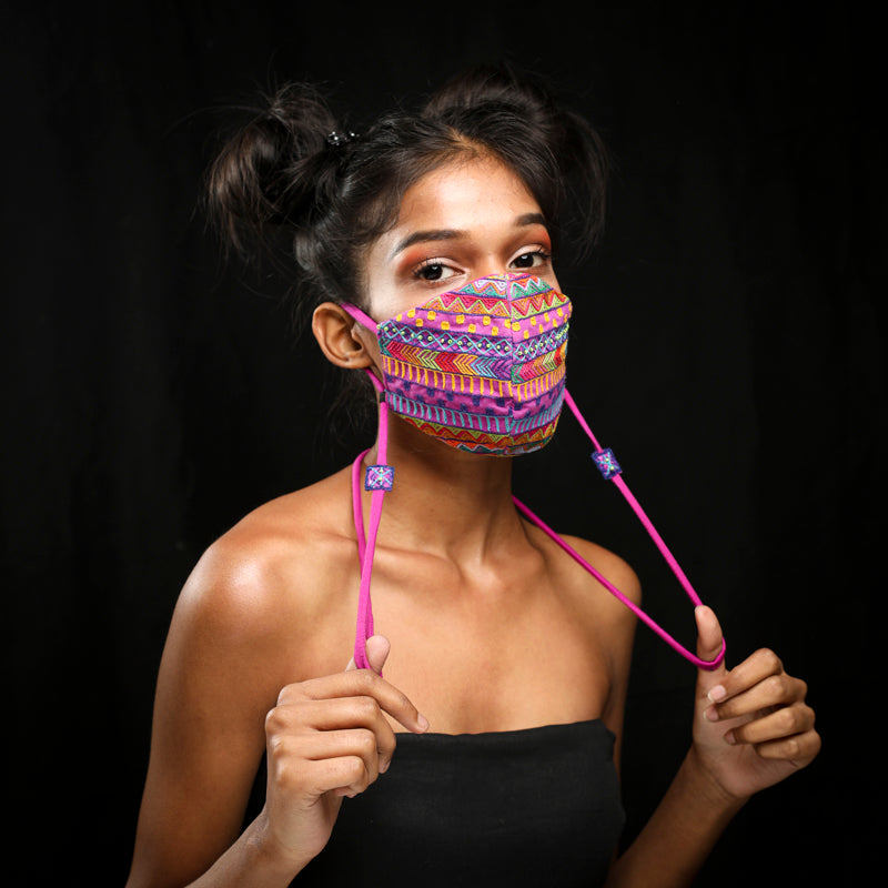 Purple Dhaka Handcrafted mask by gonecase
