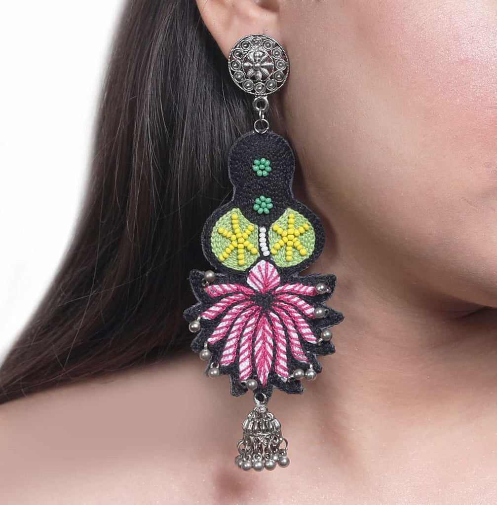 Saroj Pink Embroidered Earrings ,Earrings, gonecasestore - gonecasestore