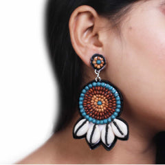 Wood Embroidery Earrings