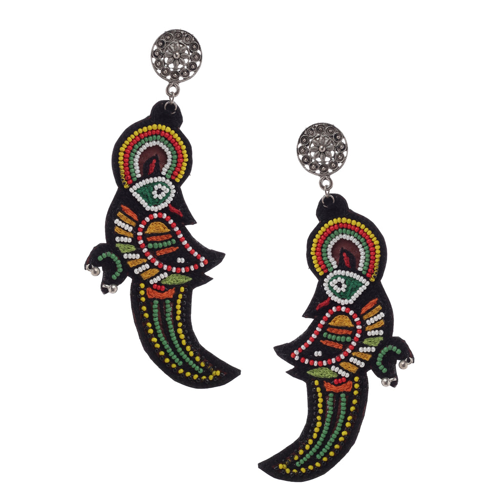 Parrot Embroidered Earrings ,Earrings, GoneCase - gonecasestore