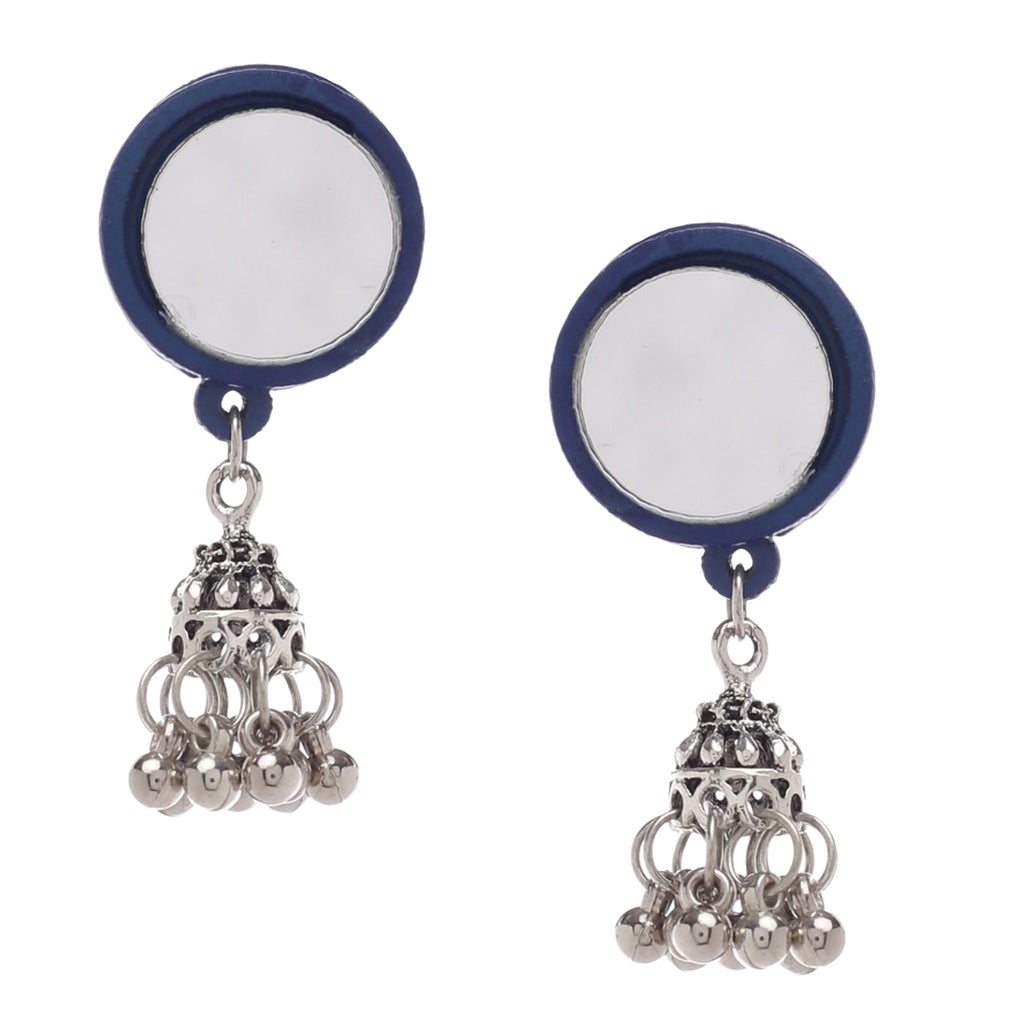 Round Blue Jhumki Earrings ,Earrings, GoneCase - gonecasestore