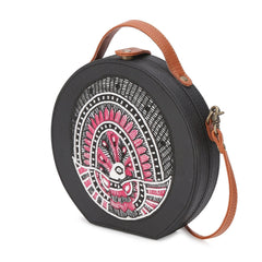 Madhubani Peacock Embroidered Sling Bag