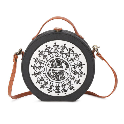 Warli Art Embroidered Sling Bag - gonecasestore
