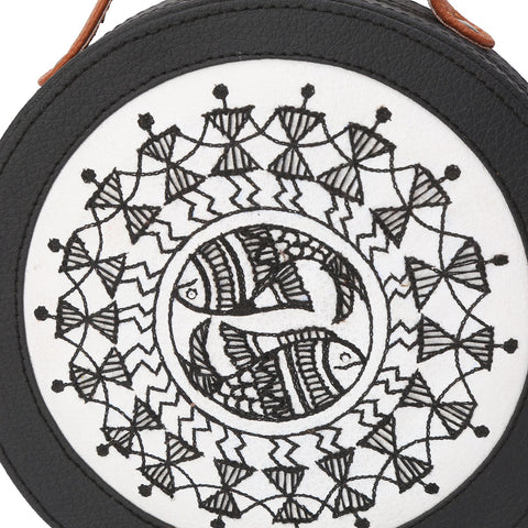 Warli Art Embroidered Sling Bag