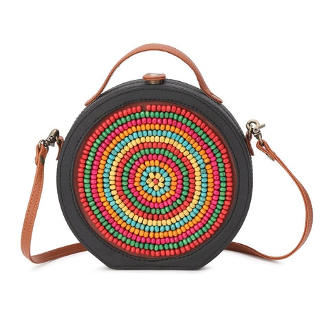 Wooden Beads Embroidered Sling Bag