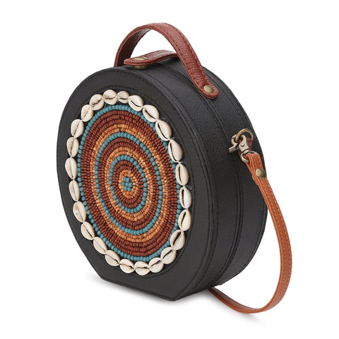 Embroidered Bead Sling Bag