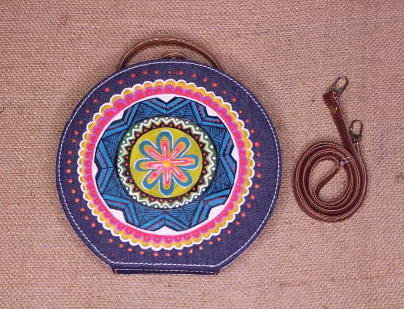 Denim Mandala Handpainted Sling Bag