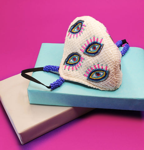 Evil Eye Embroidered Mask ,sling bag, gonecasestore - gonecasestore