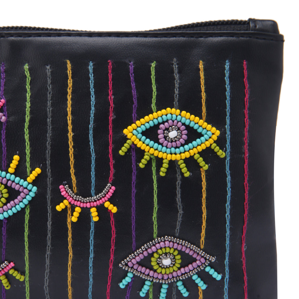 Evil eye embroidered belt bag