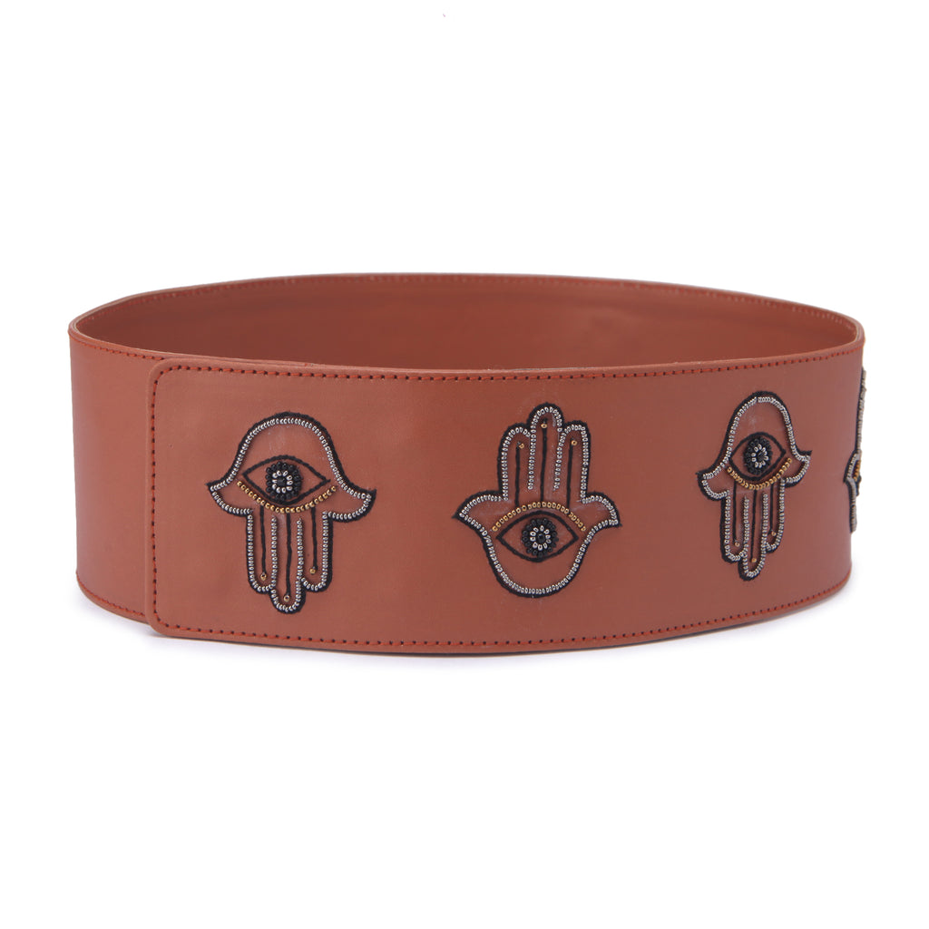 Hamsa handcrafted belt by Gonecase