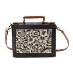 Handpainted Black Floral Sling Bag