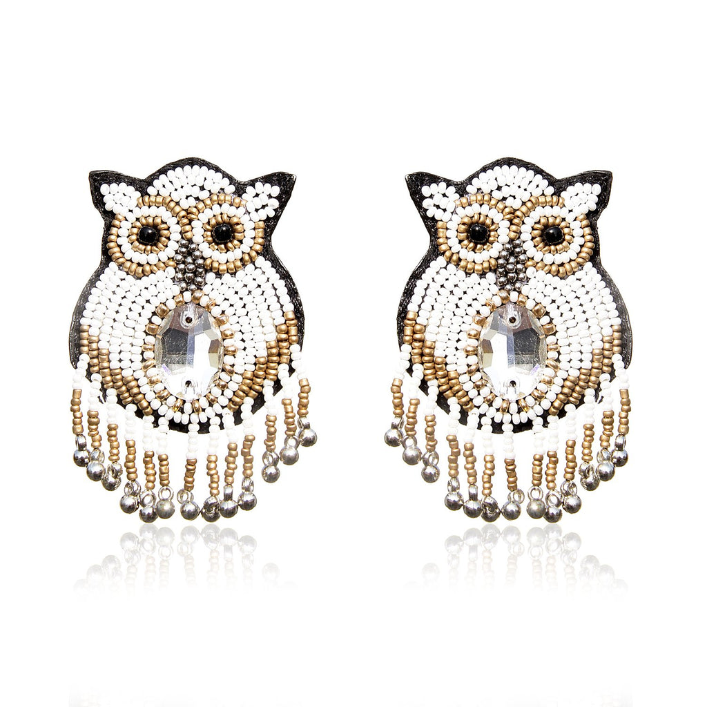 Owly Embroidered Earrings ,Earrings, gonecasestore - gonecasestore