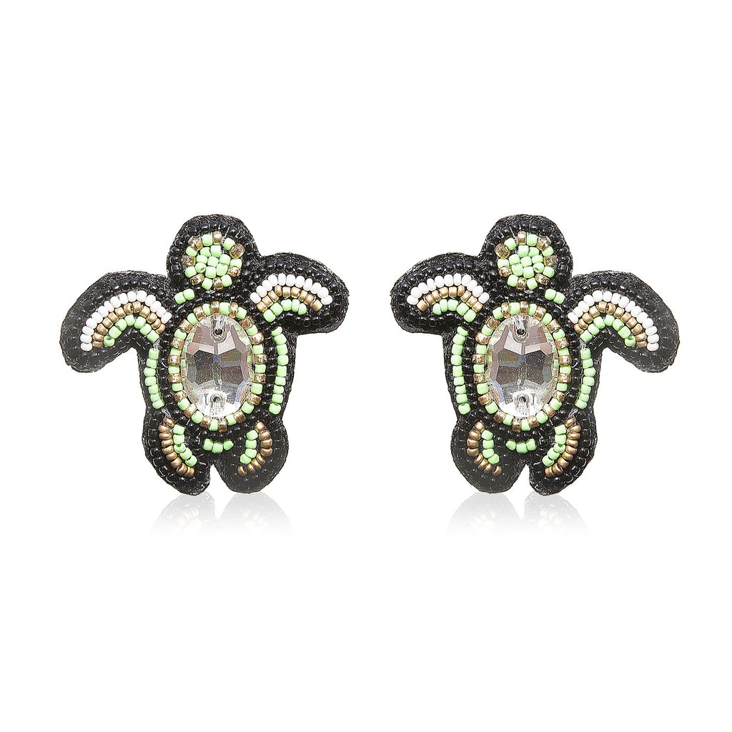 Turtle Green Embroidered Earrings ,Earrings, gonecasestore - gonecasestore