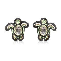 Turtle Green Embroidered Earrings