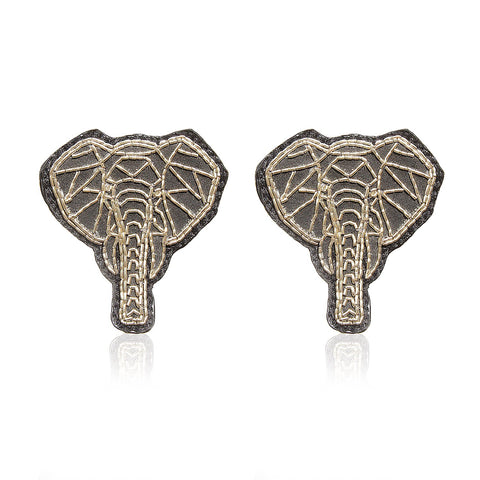 Elephant Silver Zari Handcrafted Earrings ,Earrings, gonecasestore - gonecasestore