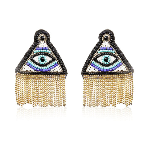 Illuminati Embroidered Earrings ,Earrings, gonecasestore - gonecasestore