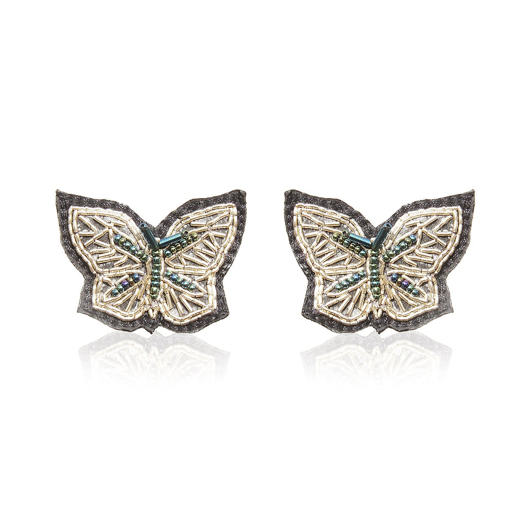 Butterfly Silver Zari Earrings ,Earrings, gonecasestore - gonecasestore