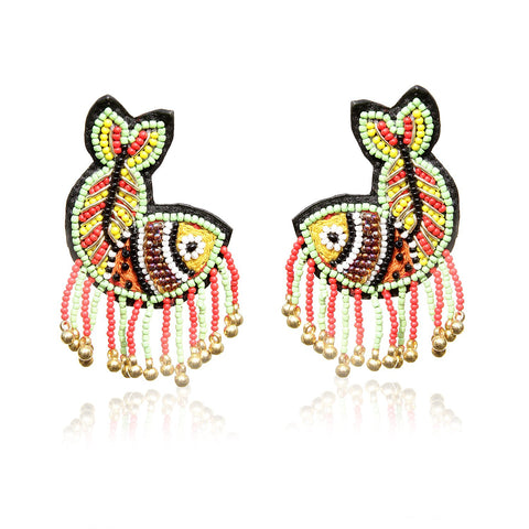 Matsya Embroidered Handcrafted Earrings ,Earrings, gonecasestore - gonecasestore