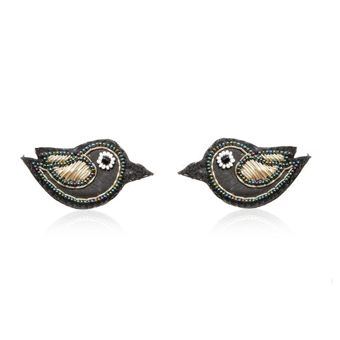 Little Black Bird Embroidered Earrings ,Earrings, gonecasestore - gonecasestore