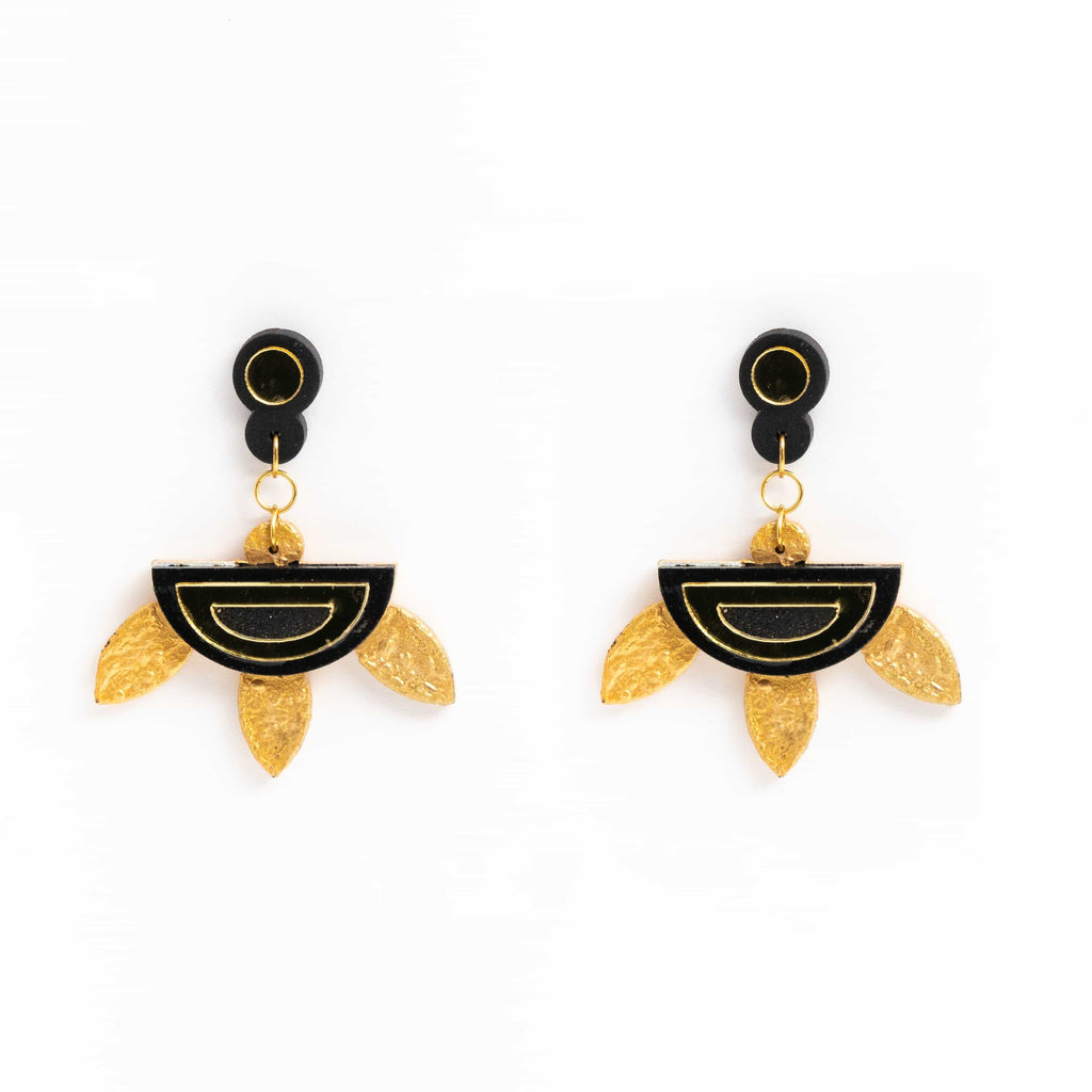 Hand Painted Gold And Black Studs ,Earrings, gonecasestore - gonecasestore