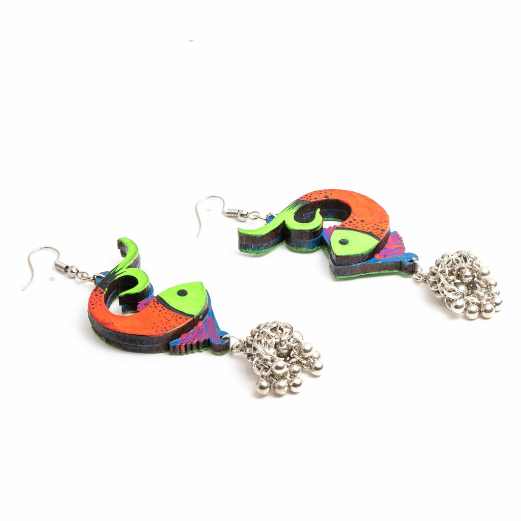 Hand Painted Fish Earring ,Earrings, gonecasestore - gonecasestore