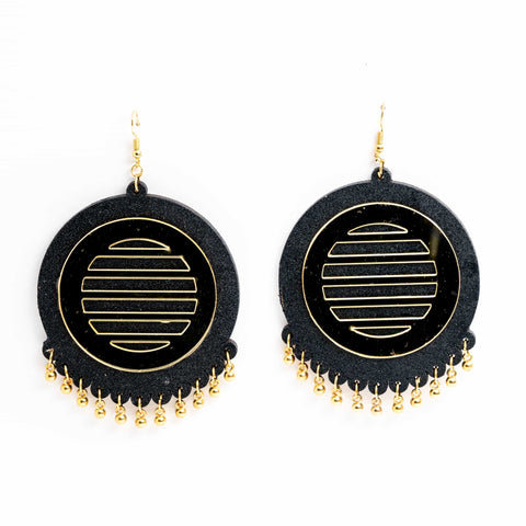 Black and Gold Hand painted earring