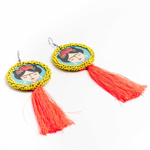 Frida Pink Tassel Earrings