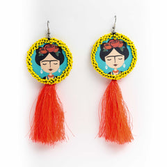 Frida kahlo  Pink Tassel Handcrafted Earrings