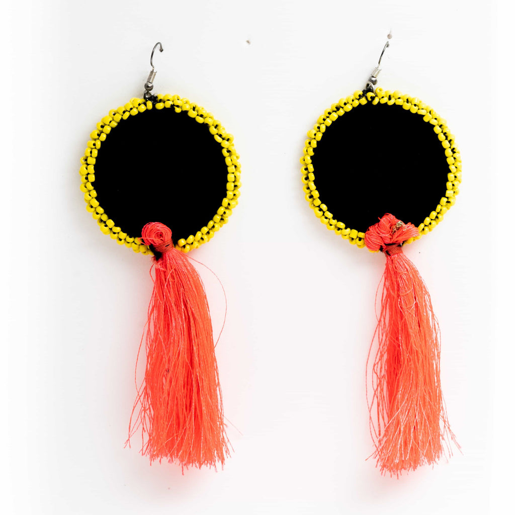 Frida kahlo  Pink Tassel Handcrafted Earrings ,Earrings, gonecasestore - gonecasestore