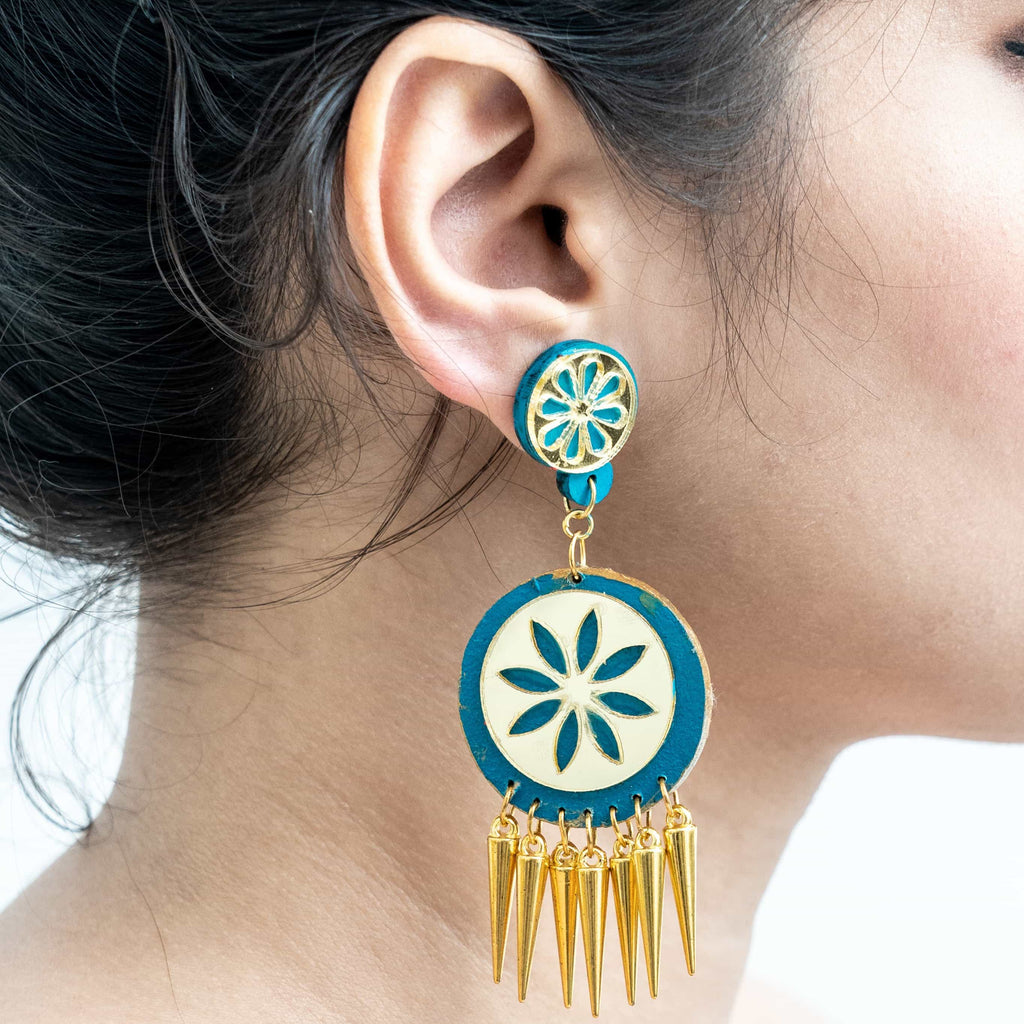 Handpainted Spike Earrings ,Earrings, gonecasestore - gonecasestore
