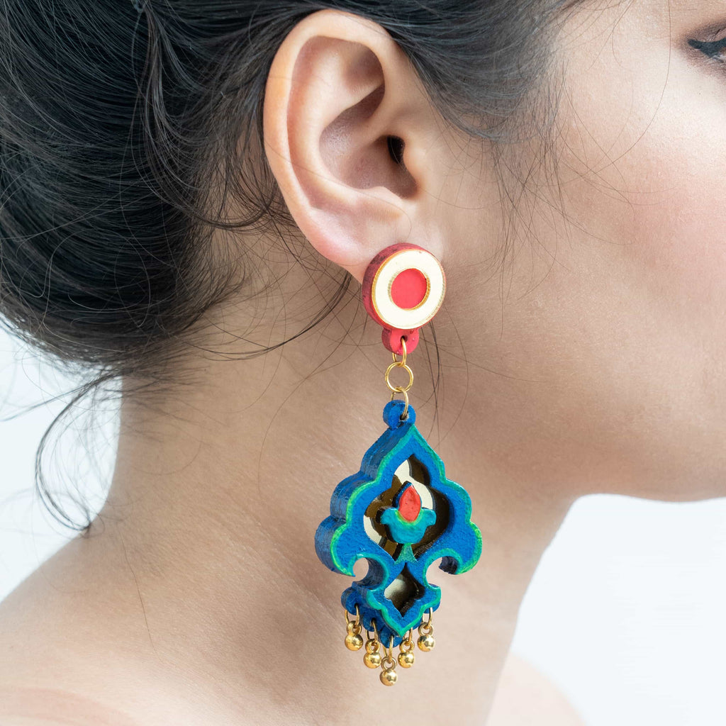 Handpainted Blue Earrings ,Earrings, gonecasestore - gonecasestore