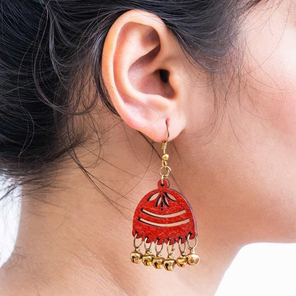 Handpainted Jhumki Earring ,Earrings, gonecasestore - gonecasestore