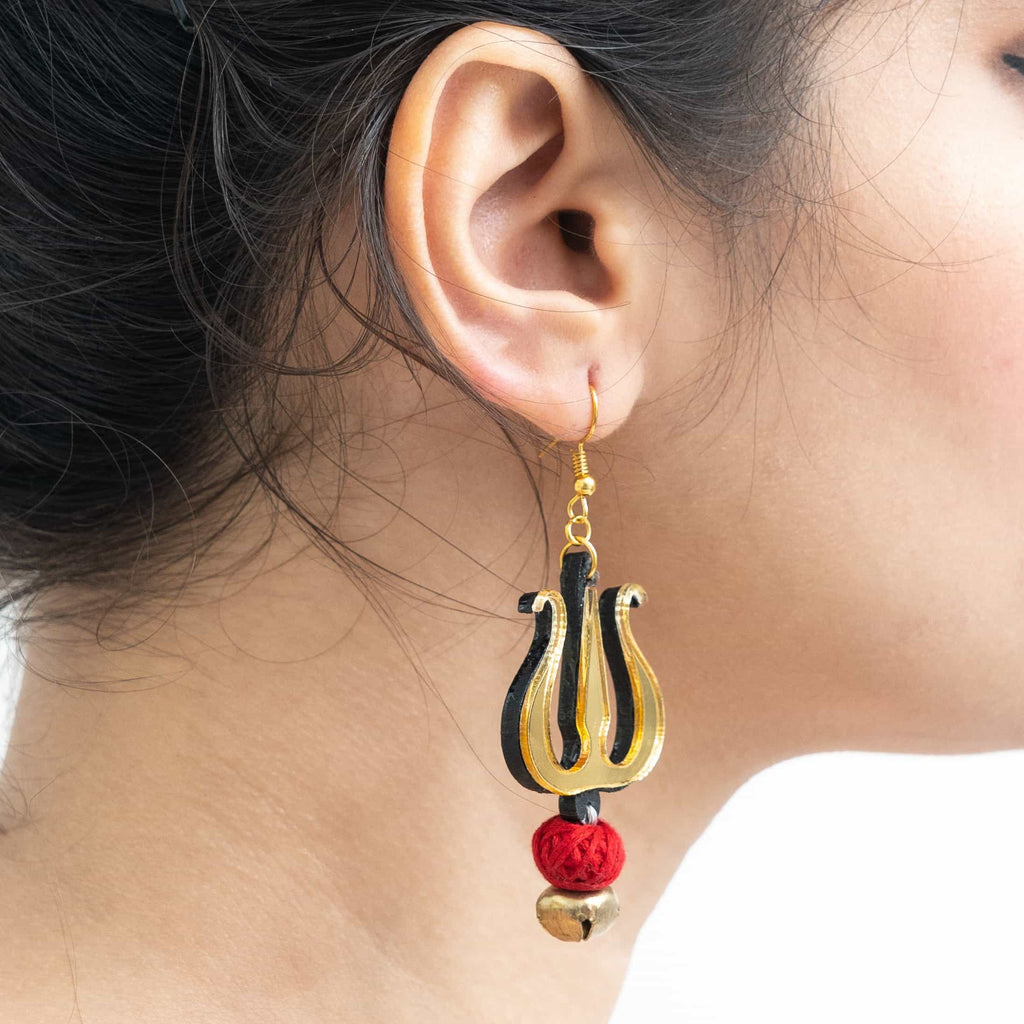 Trishul Handpainted Earrings
