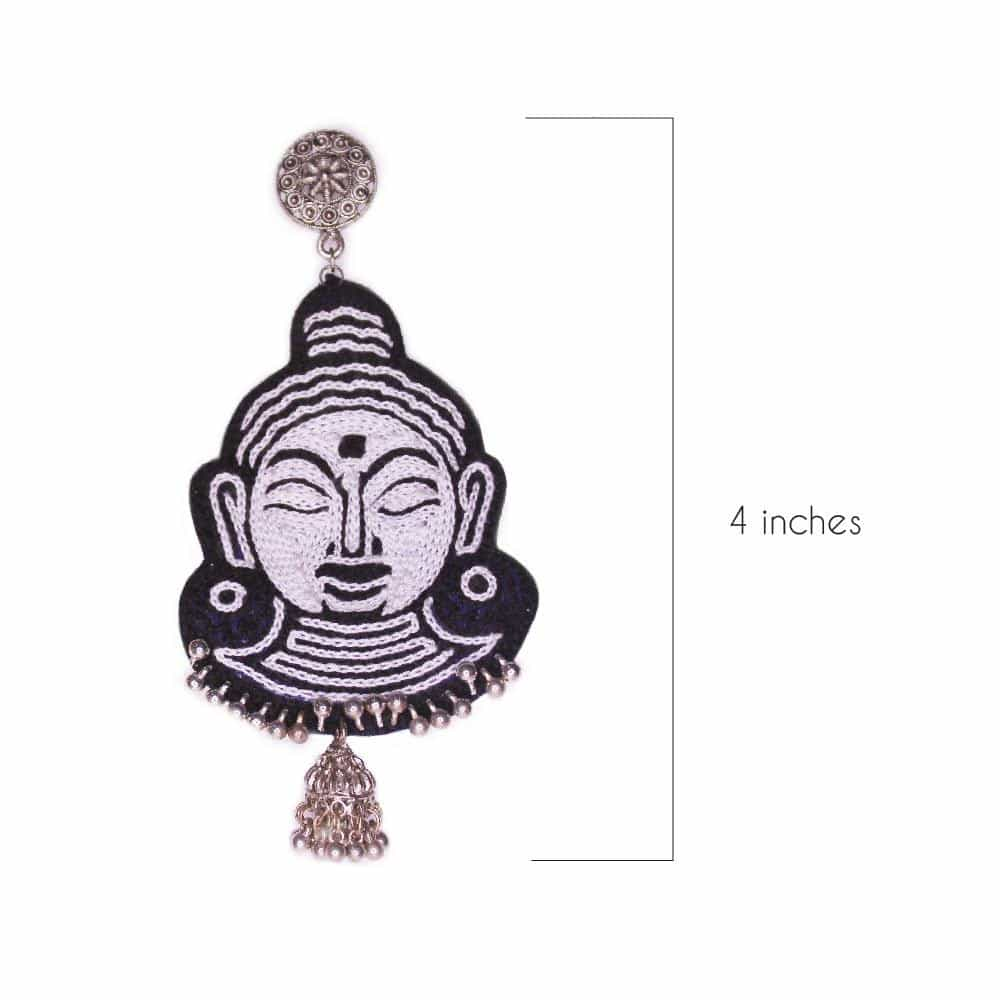 Budha Embroidery Earrings ,Earrings, gonecasestore - gonecasestore